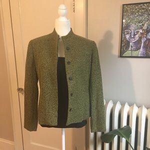 JONES NEW YORK Green Wool Blend Blazer